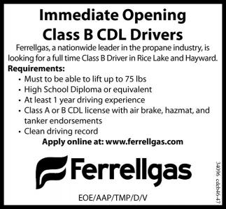 Class B CDL Drivers