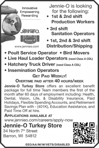 Production Workers, Sanitation Operators, Distribution/Shipping, Poult Service Operator, Bird Movers, Live Haul Loader Operators, Hatchery Truck Driver, Insemination Operators