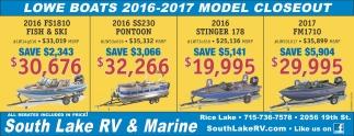 Lowe Boats 2016 - 2017 Model Closeout