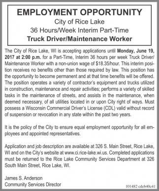 Truck Driver / Maintenance Worker