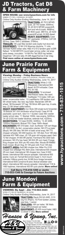 JD Tractors, Cat D8 & Farm Machinery