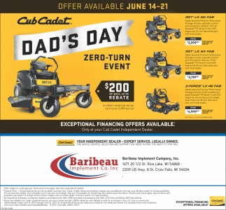 Dad's Day Zero Turn Event