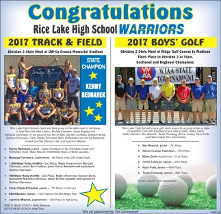 Congratulations Rice Lake High School Warriors