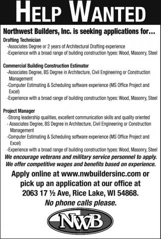 Drafting Technician, Commercial Building Construction Estimator, Project Manger