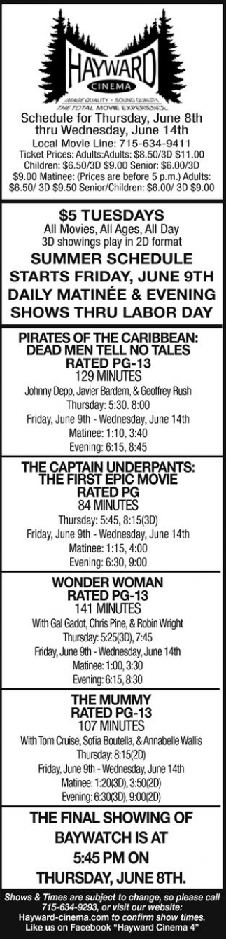 Pirates of The Caribbean: Dead Men Tell no Tales - The Captain America: The First Epic Movie - Wonder Woman - The Mummy - Baywatch