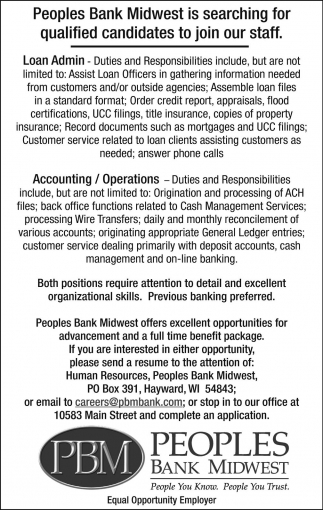 Loan Admin, Accounting/Operations, Peoples Bank Midwest - Hayward ...