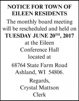 Notice for Town Of Eileen Residents