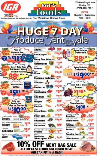 Huge 7 Day Produce Tent Sale