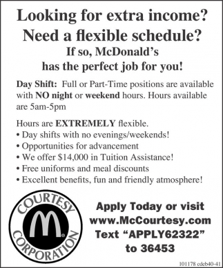 McDonald's has the perfect job for you!