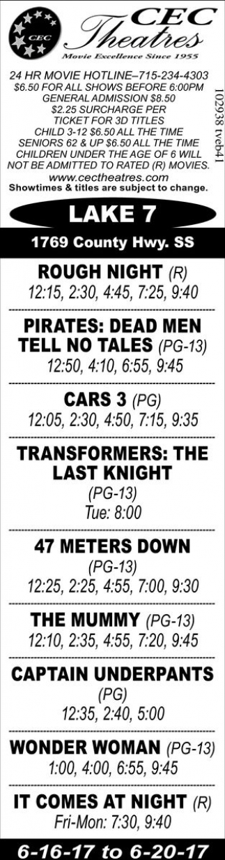 Rough Night - Pirates: Dead Men Tell no Tales - Cars 3 - Transformers: The Last Knight - 47 Meters Down - The Mummy - Captain Underpants - Wonder Woman - It Comes At Night