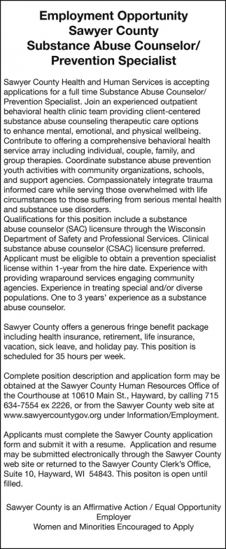 Substance Abuse Counselor / Prevention Specialist