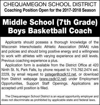 Middle School (7th Grade) Boys Basketball Coach