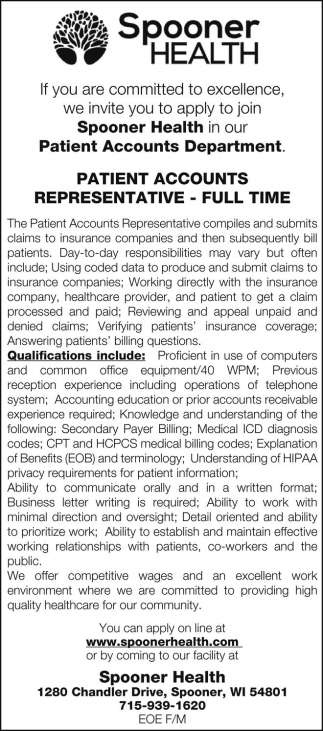 Patient Accounts Representative