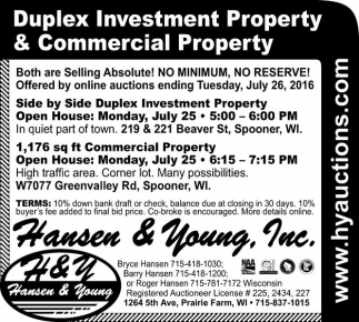 Duplex Investment Property and Commercial Property