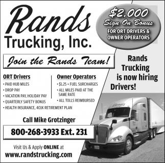 ORT Drivers / Owner Operators