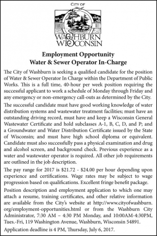 Water & Sewer Operator In-Charge
