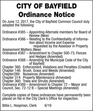 Ordinance Notice