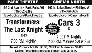 Thansformers: The Last Knight / Cars 3