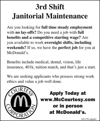 3rd Shift Janitorial Maintenance
