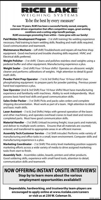 Paid Welder Development Program, Maintenance Mechanic, Weight ...