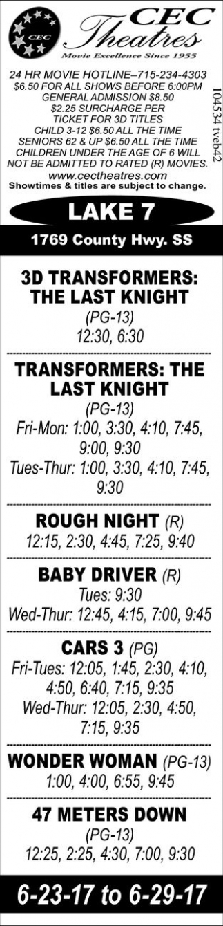 Transformers: The Last Knight - Rough Night - Baby Driver - Cars 3 - Wonder Woman - 47 Meters Down