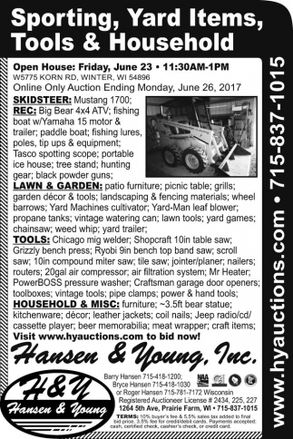 Sporting, Yard Items, Tools & Household