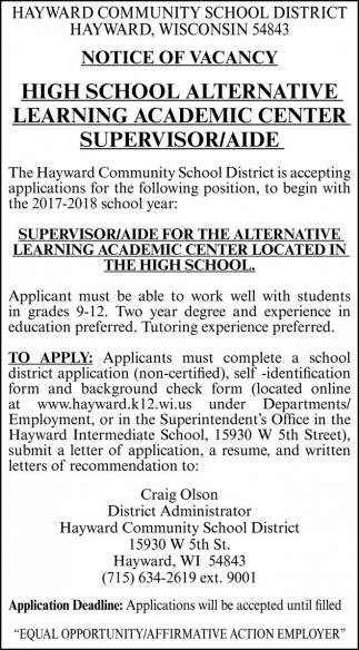 High School Alternative Learning Academic Center Supervisor/Aide