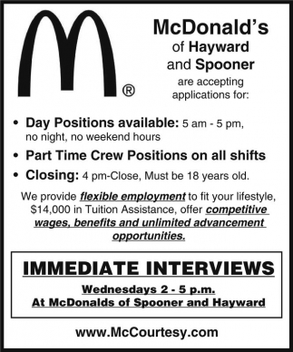 Full or Part-Time positions