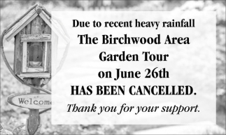 Birchwood Area Garden Tour has been Cancelled