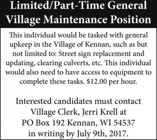 Village Maintenance Position