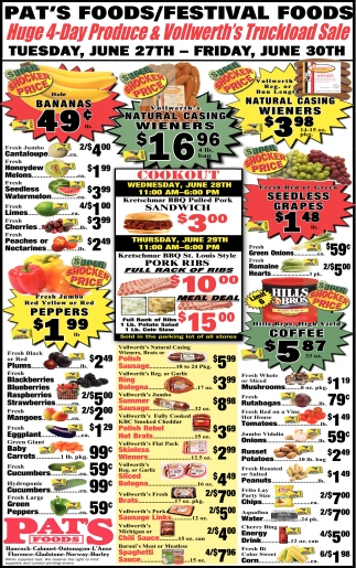 Huge 4 Day Produce & Vollwerth's Truckload Sale