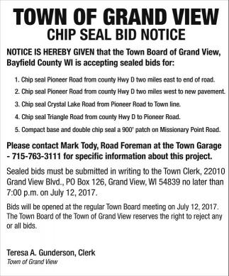 Chip Seal Bid Notice