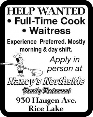 Cook, Waitress