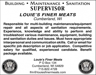 Building, Maintenance, Sanitation Supervisor