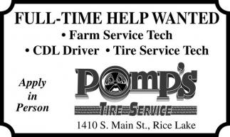 Farm Service Tech, CDL Driver, Tire Service Tech