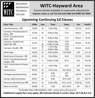 Upcoming Continuing Ed Classes
