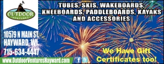 Tubes, Skis, Wakeboards, Kneeboards, Paddleboards, Kayaks and Accesories