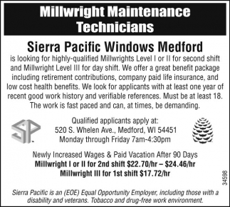 Millwright Maintenance Technicians