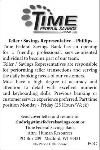Teller / Savings Representative