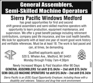 General Assemblers, Semi-Skilled Machine Operators