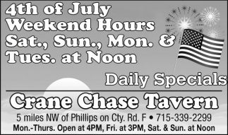 4th of July Daily Specials