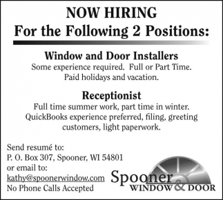 Window and Door Installers, Receptionist