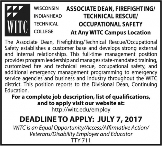 Associate Dean, Firefighting, Technical Rescue, Occupational Safety