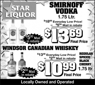 SMIRNOFF VODKA, Star Liquor, Ashland, WI