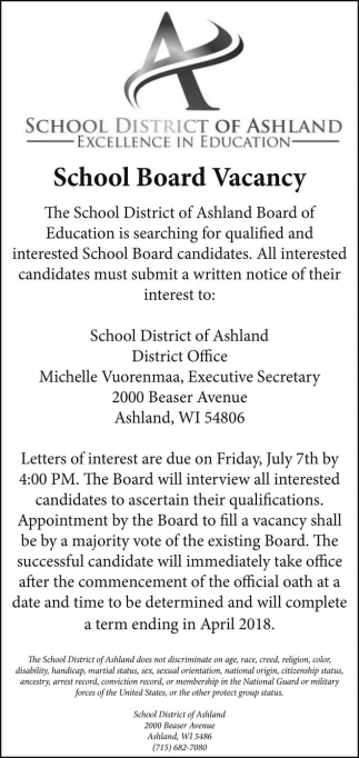 School Board Vacancy