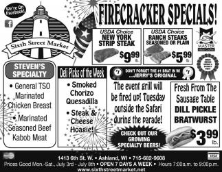 Firecracker specials