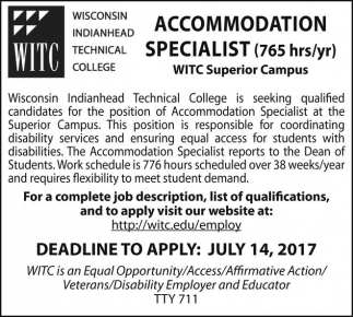 Accommodation Specialist