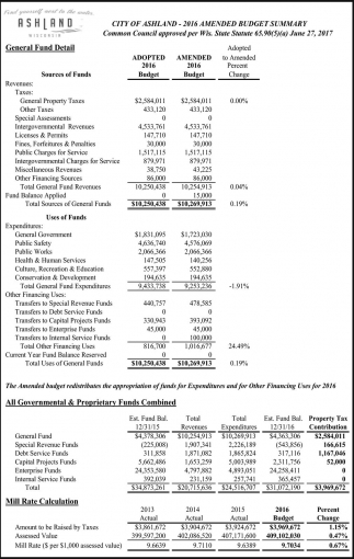 2016 Amended Budget Summary