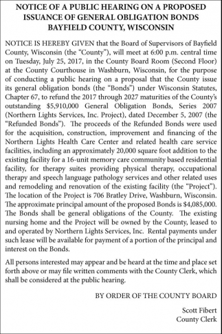 Notice of Public Hearing on a Proposed Issuance of General Obligation Bonds