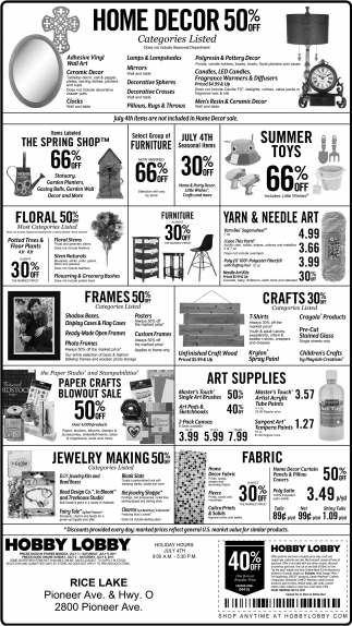 hobby lobby rice lake home decor 50 off shopping ads from ads for hobby lobby rice lake in rice lake wi